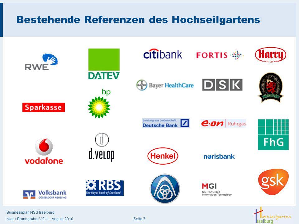 Businessplan HSG Isselburg Nies / Brunngraber V 0.1 – August 2010 Seite 7 Bestehende Referenzen des Hochseilgartens