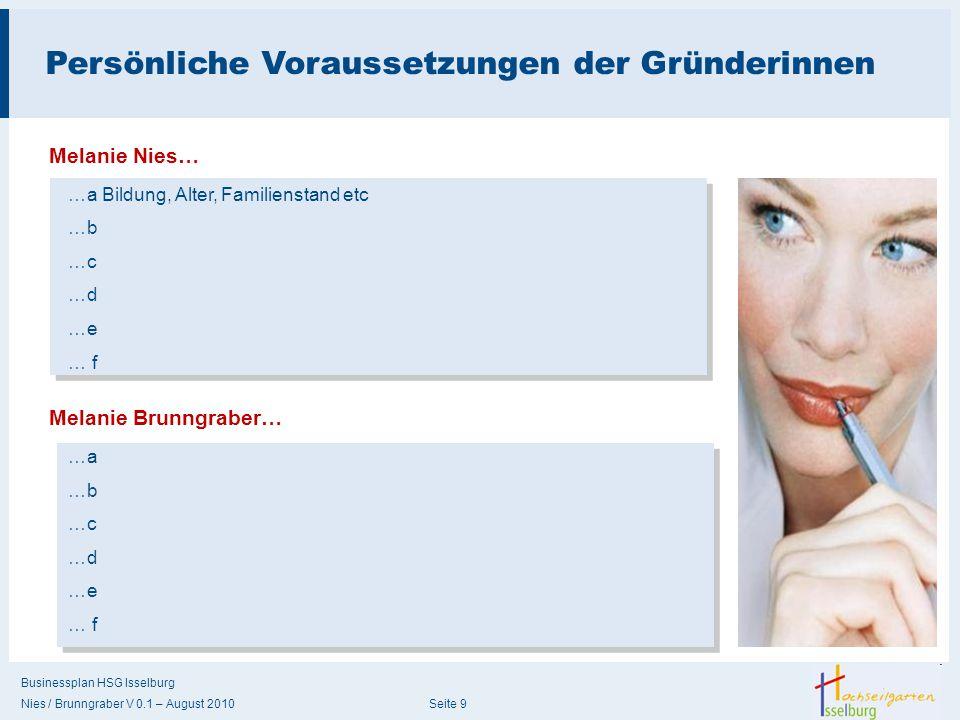 Businessplan HSG Isselburg Nies / Brunngraber V 0.1 – August 2010 Seite 9 Persönliche Voraussetzungen der Gründerinnen Melanie Nies… …a Bildung, Alter