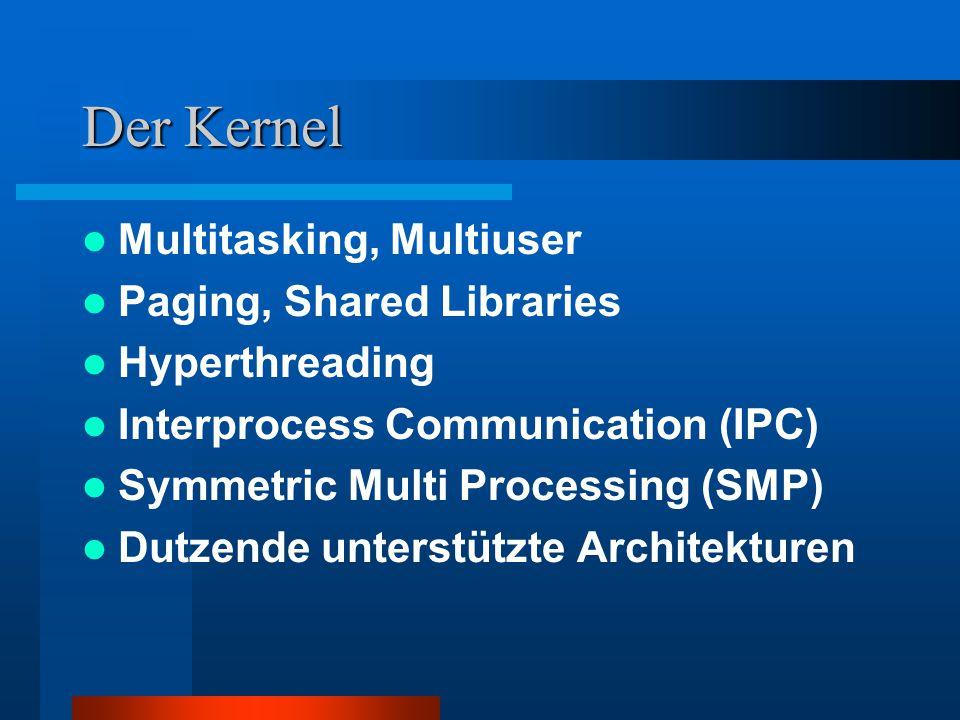 Serverdienste Datei-Dienste: ftp, smb, afp, nfs Web-Dienste: mail, http Authentifizierungs-Dienste: Nis, Ldap, NT domain controller Datenbanken: Oracle, DB2, MySql