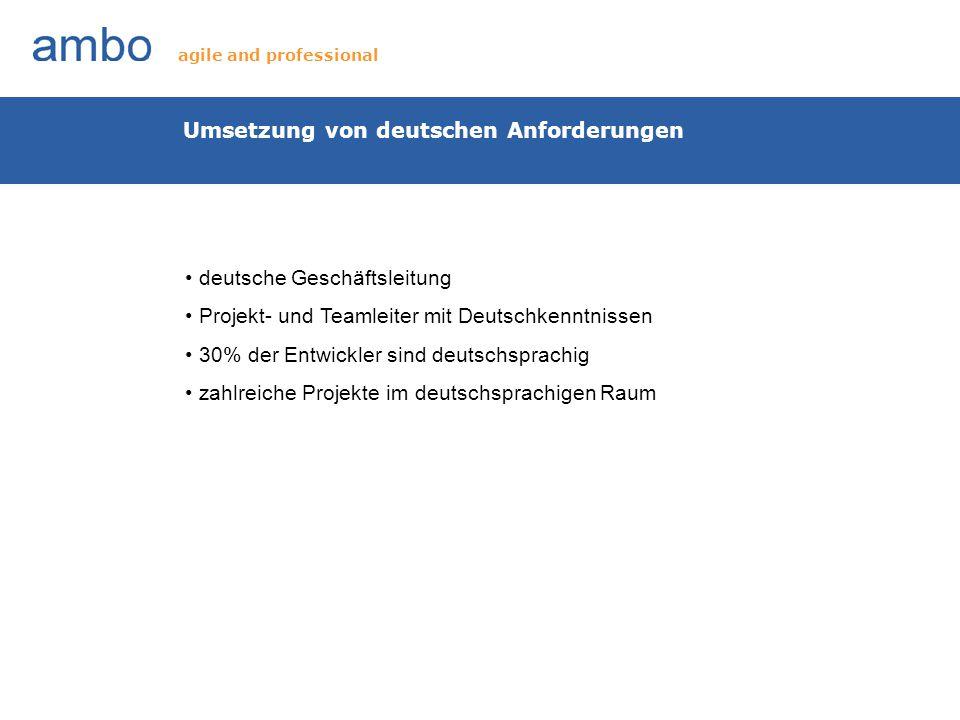 Umsetzung von deutschen Anforderungen deutsche Geschäftsleitung Projekt- und Teamleiter mit Deutschkenntnissen 30% der Entwickler sind deutschsprachig