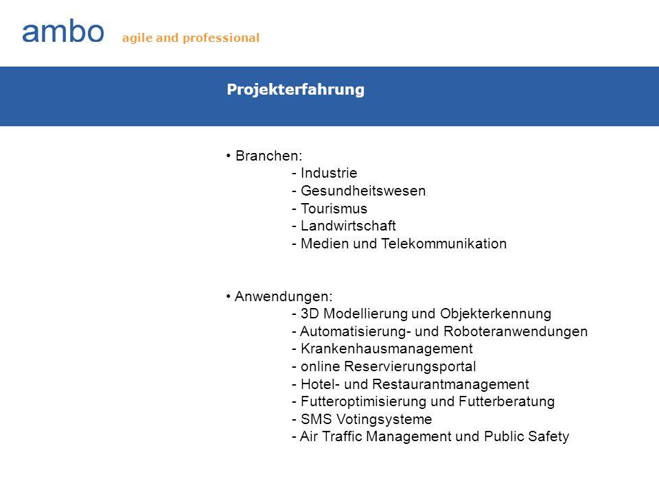 Projekterfahrung Branchen: - Industrie - Gesundheitswesen - Tourismus - Landwirtschaft - Medien und Telekommunikation Anwendungen: - 3D Modellierung u