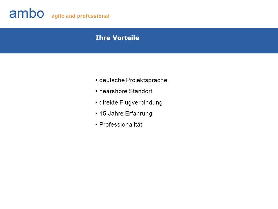 Ihre Vorteile deutsche Projektsprache nearshore Standort direkte Flugverbindung 15 Jahre Erfahrung Professionalität agile and professional