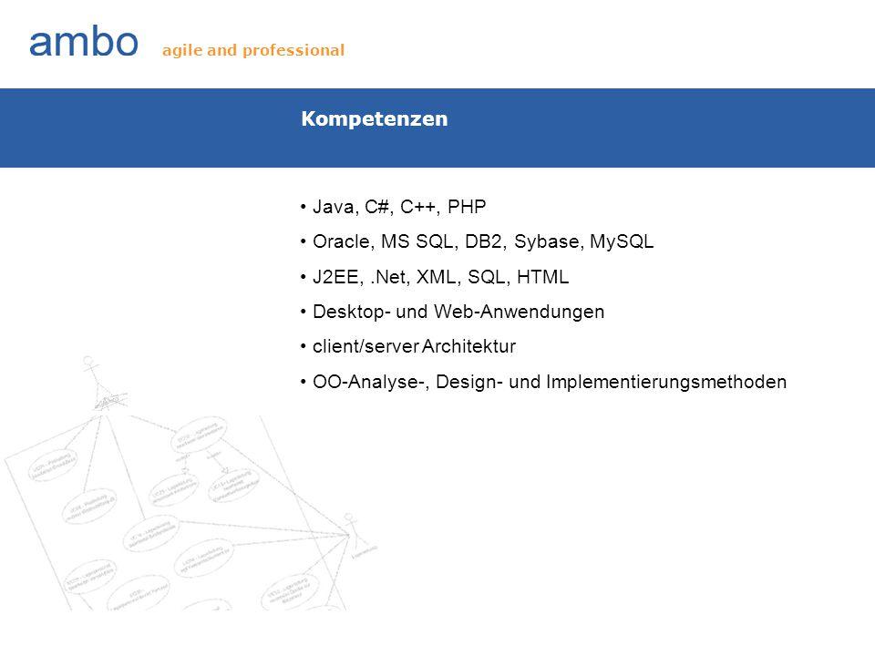 Eigene Softwareprodukte ambOptical: 3-D Objekterkennung mit der Hilfe von Laserlinienscanner snowregion.com: online Reservierungsportal Vilicotel: Hotelmanagement Vilicorest: Restaurantmanagement für PC und Android agile and professional