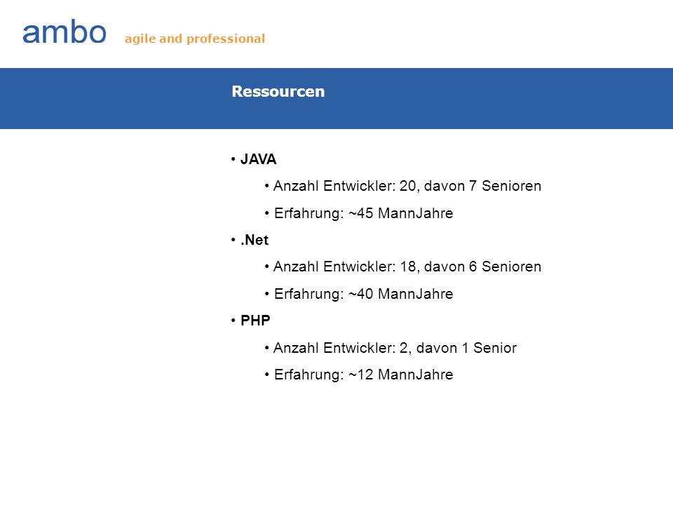 Ressourcen JAVA Anzahl Entwickler: 20, davon 7 Senioren Erfahrung: ~45 MannJahre.Net Anzahl Entwickler: 18, davon 6 Senioren Erfahrung: ~40 MannJahre
