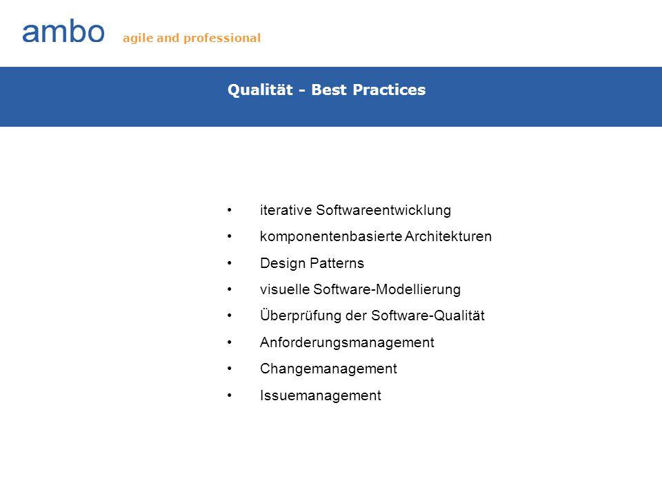 Qualität - Best Practices iterative Softwareentwicklung komponentenbasierte Architekturen Design Patterns visuelle Software-Modellierung Überprüfung d
