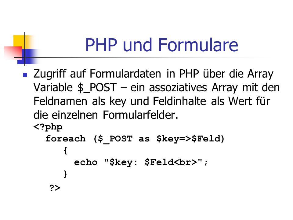 PHP und Formulare Zugriff auf Formulardaten in PHP über die Array Variable $_POST – ein assoziatives Array mit den Feldnamen als key und Feldinhalte a