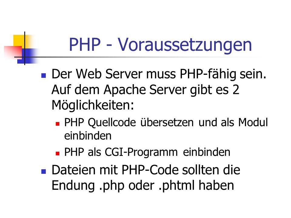 PHP - Einsatzgebiete Formulardaten sammeln, dynamischen Inhalt für Websites generieren oder Cookies senden und empfangen.