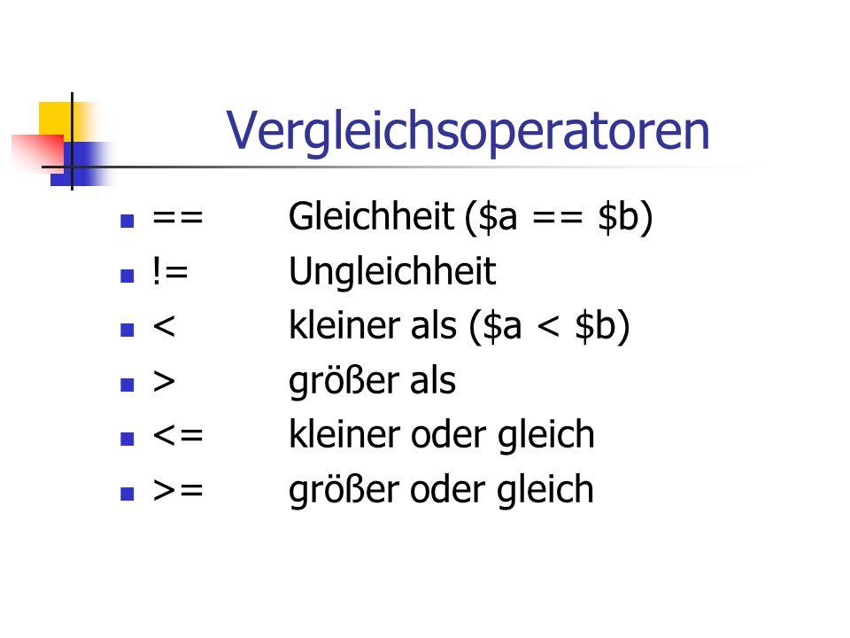 Vergleichsoperatoren ==Gleichheit ($a == $b) !=Ungleichheit <kleiner als ($a < $b) >größer als <=kleiner oder gleich >=größer oder gleich