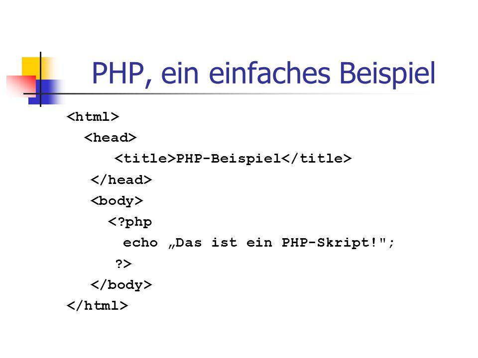 """PHP, ein einfaches Beispiel PHP-Beispiel <?php echo """"Das ist ein PHP-Skript!"""