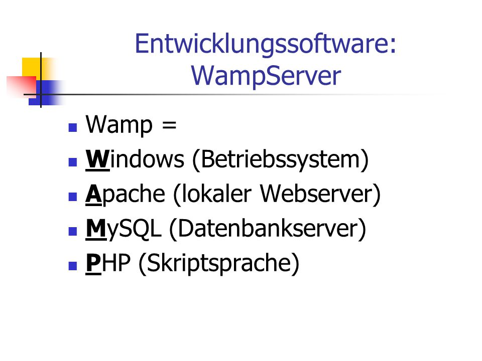 Entwicklungssoftware: WampServer Wamp = Windows (Betriebssystem) Apache (lokaler Webserver) MySQL (Datenbankserver) PHP (Skriptsprache)