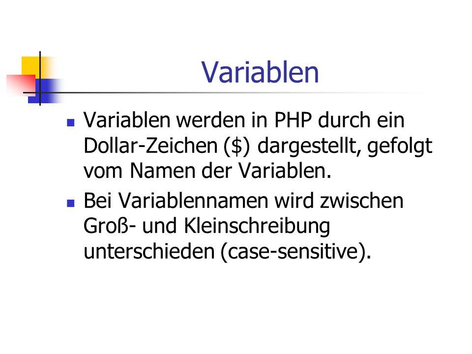 Variablen Ein gültiger Variablen-Name beginnt mit einem Buchstaben oder einem Unterstrich ( _ ), gefolgt von einer beliebigen Anzahl von Buchstaben, Zahlen oder Unterstrichen.