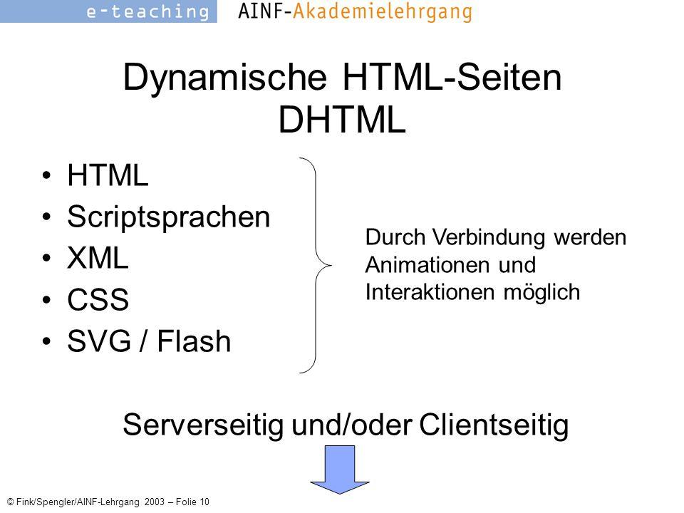 © Fink/Spengler/AINF-Lehrgang 2003 – Folie 10 Dynamische HTML-Seiten DHTML HTML Scriptsprachen XML CSS SVG / Flash Serverseitig und/oder Clientseitig Durch Verbindung werden Animationen und Interaktionen möglich