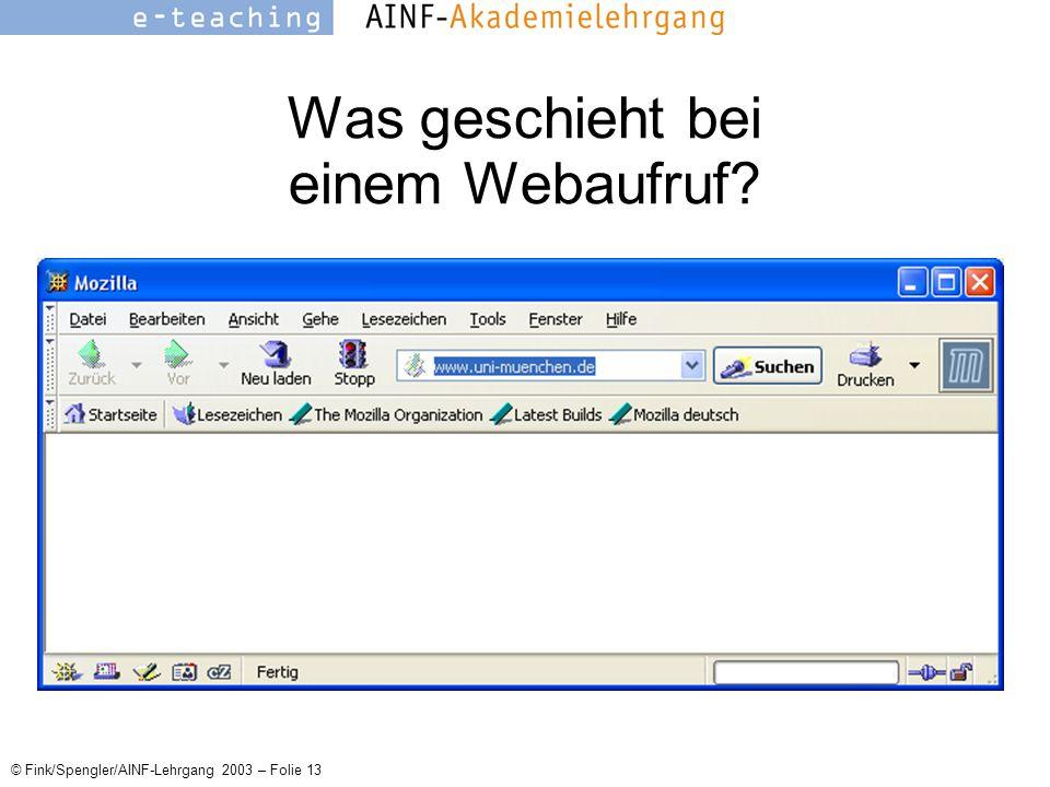 © Fink/Spengler/AINF-Lehrgang 2003 – Folie 13 Was geschieht bei einem Webaufruf
