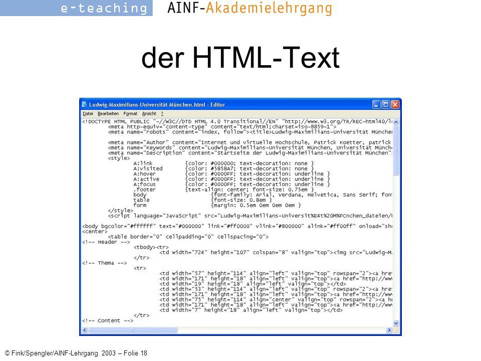 © Fink/Spengler/AINF-Lehrgang 2003 – Folie 18 der HTML-Text