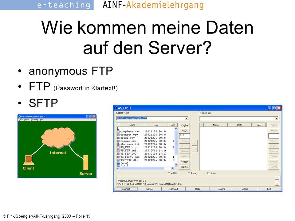© Fink/Spengler/AINF-Lehrgang 2003 – Folie 19 Wie kommen meine Daten auf den Server.
