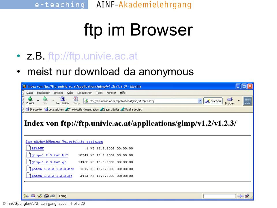 © Fink/Spengler/AINF-Lehrgang 2003 – Folie 20 ftp im Browser z.B.