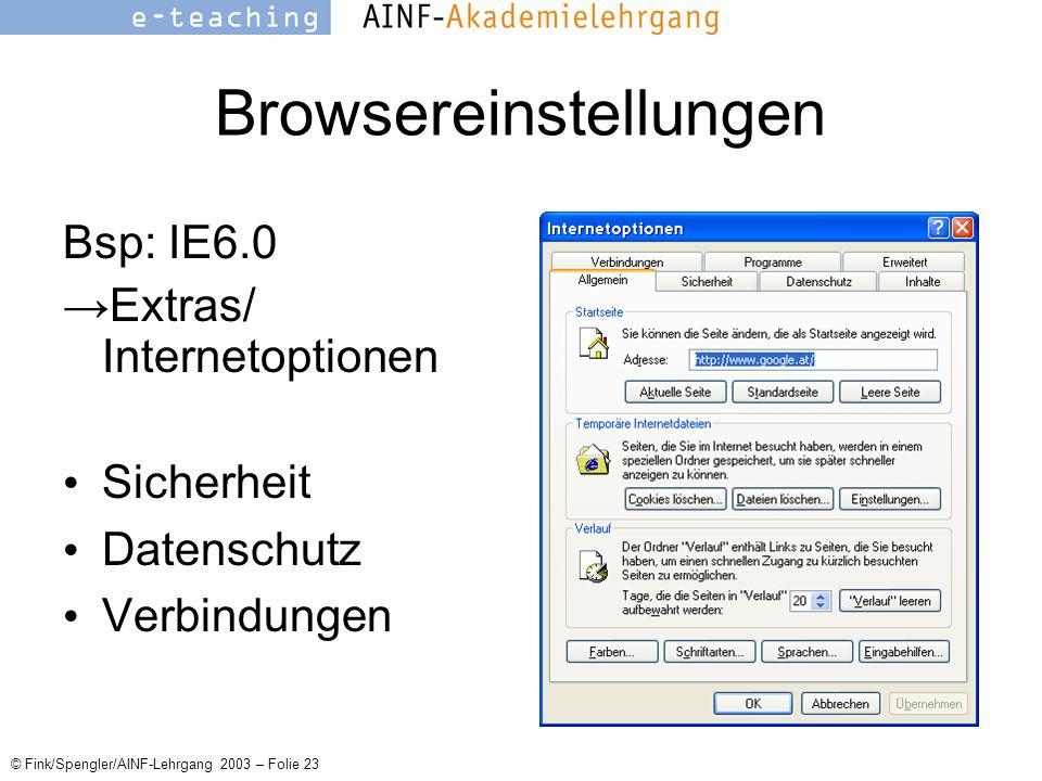 © Fink/Spengler/AINF-Lehrgang 2003 – Folie 23 Browsereinstellungen Bsp: IE6.0 →Extras/ Internetoptionen Sicherheit Datenschutz Verbindungen