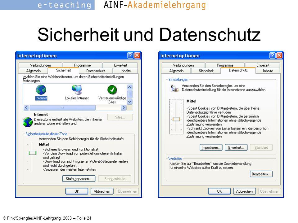 © Fink/Spengler/AINF-Lehrgang 2003 – Folie 24 Sicherheit und Datenschutz