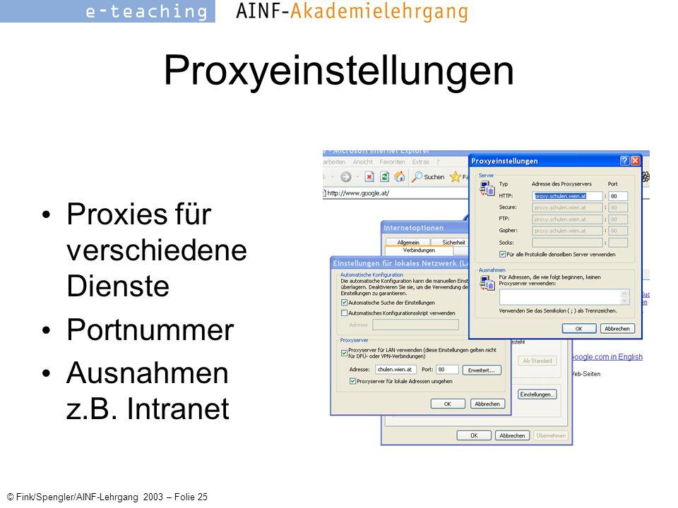 © Fink/Spengler/AINF-Lehrgang 2003 – Folie 25 Proxyeinstellungen Proxies für verschiedene Dienste Portnummer Ausnahmen z.B.