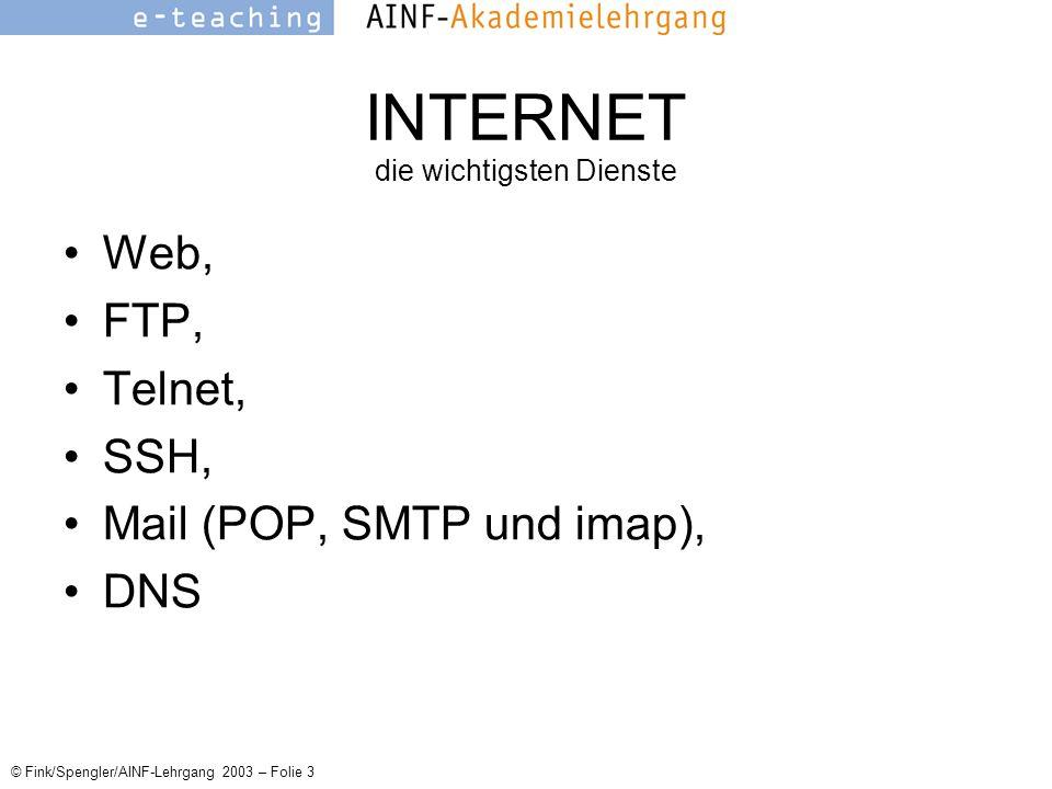 © Fink/Spengler/AINF-Lehrgang 2003 – Folie 3 INTERNET die wichtigsten Dienste Web, FTP, Telnet, SSH, Mail (POP, SMTP und imap), DNS