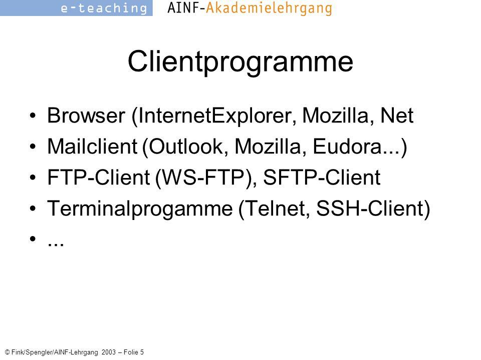 © Fink/Spengler/AINF-Lehrgang 2003 – Folie 5 Clientprogramme Browser (InternetExplorer, Mozilla, Net Mailclient (Outlook, Mozilla, Eudora...) FTP-Client (WS-FTP), SFTP-Client Terminalprogamme (Telnet, SSH-Client)...