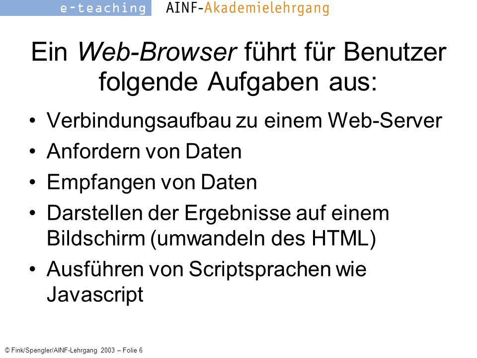 © Fink/Spengler/AINF-Lehrgang 2003 – Folie 6 Ein Web-Browser führt für Benutzer folgende Aufgaben aus: Verbindungsaufbau zu einem Web-Server Anfordern von Daten Empfangen von Daten Darstellen der Ergebnisse auf einem Bildschirm (umwandeln des HTML) Ausführen von Scriptsprachen wie Javascript