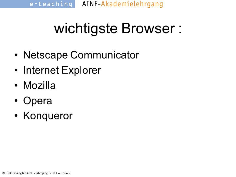 © Fink/Spengler/AINF-Lehrgang 2003 – Folie 7 wichtigste Browser : Netscape Communicator Internet Explorer Mozilla Opera Konqueror