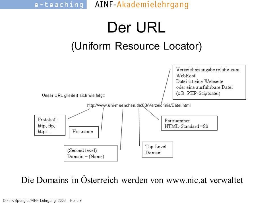 © Fink/Spengler/AINF-Lehrgang 2003 – Folie 9 Der URL (Uniform Resource Locator) Die Domains in Österreich werden von www.nic.at verwaltet