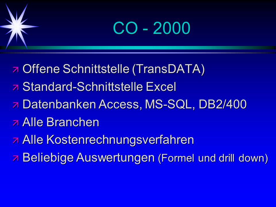 CO - 2000 ä Offene Schnittstelle (TransDATA) ä Standard-Schnittstelle Excel ä Datenbanken Access, MS-SQL, DB2/400 ä Alle Branchen ä Alle Kostenrechnungsverfahren ä Beliebige Auswertungen (Formel und drill down)