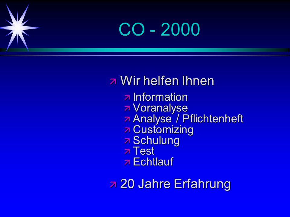CO - 2000 ä Wir helfen Ihnen ä Information ä Voranalyse ä Analyse / Pflichtenheft ä Customizing ä Schulung ä Test ä Echtlauf ä 20 Jahre Erfahrung