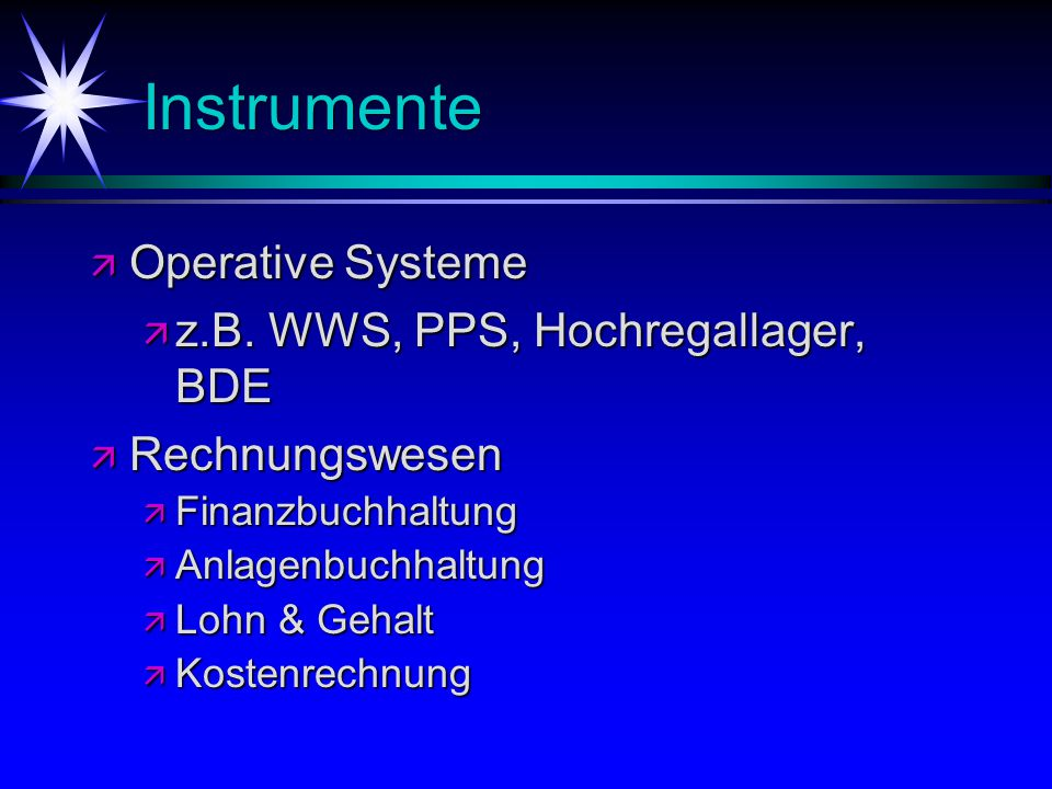 Instrumente ä Operative Systeme ä z.B. WWS, PPS, Hochregallager, BDE ä Rechnungswesen ä Finanzbuchhaltung ä Anlagenbuchhaltung ä Lohn & Gehalt ä Koste