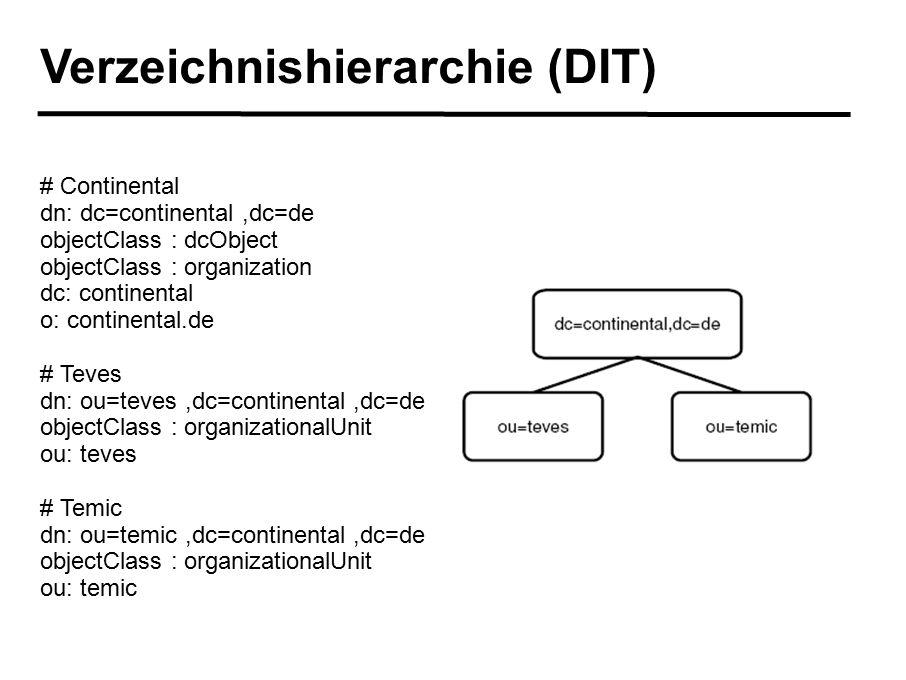 Verzeichnishierarchie (DIT) # Continental dn: dc=continental,dc=de objectClass : dcObject objectClass : organization dc: continental o: continental.de # Teves dn: ou=teves,dc=continental,dc=de objectClass : organizationalUnit ou: teves # Temic dn: ou=temic,dc=continental,dc=de objectClass : organizationalUnit ou: temic