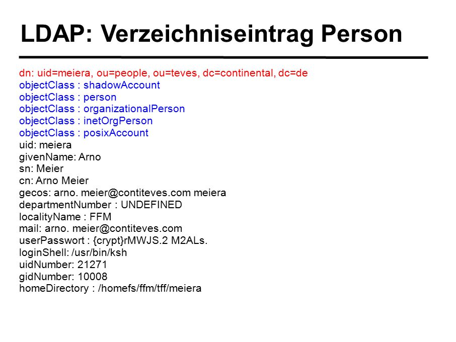 LDAP: Verzeichniseintrag Person dn: uid=meiera, ou=people, ou=teves, dc=continental, dc=de objectClass : shadowAccount objectClass : person objectClas