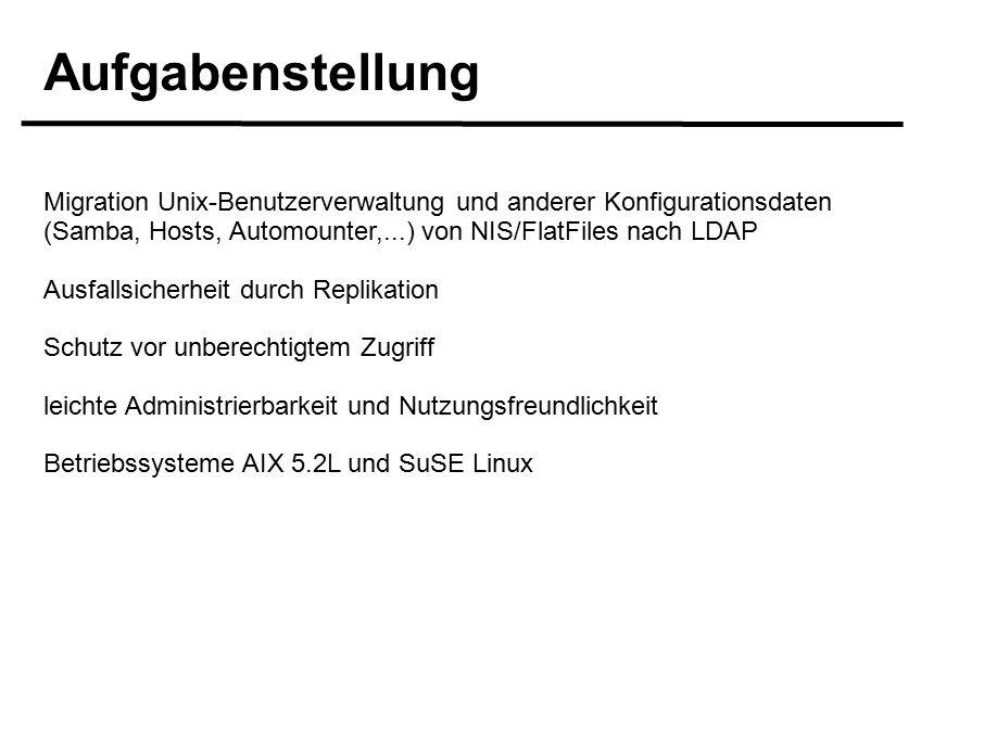 Aufgabenstellung Migration Unix-Benutzerverwaltung und anderer Konfigurationsdaten (Samba, Hosts, Automounter,...) von NIS/FlatFiles nach LDAP Ausfallsicherheit durch Replikation Schutz vor unberechtigtem Zugriff leichte Administrierbarkeit und Nutzungsfreundlichkeit Betriebssysteme AIX 5.2L und SuSE Linux