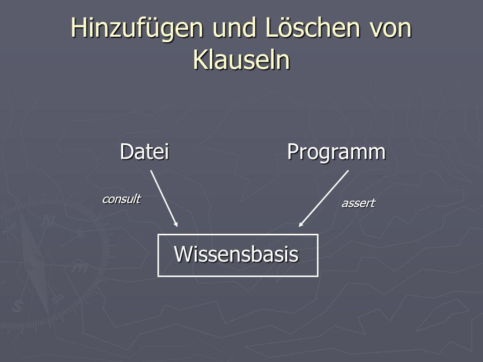 Hinzufügen und Löschen von Klauseln Programm WissensbasisDateiconsult assert