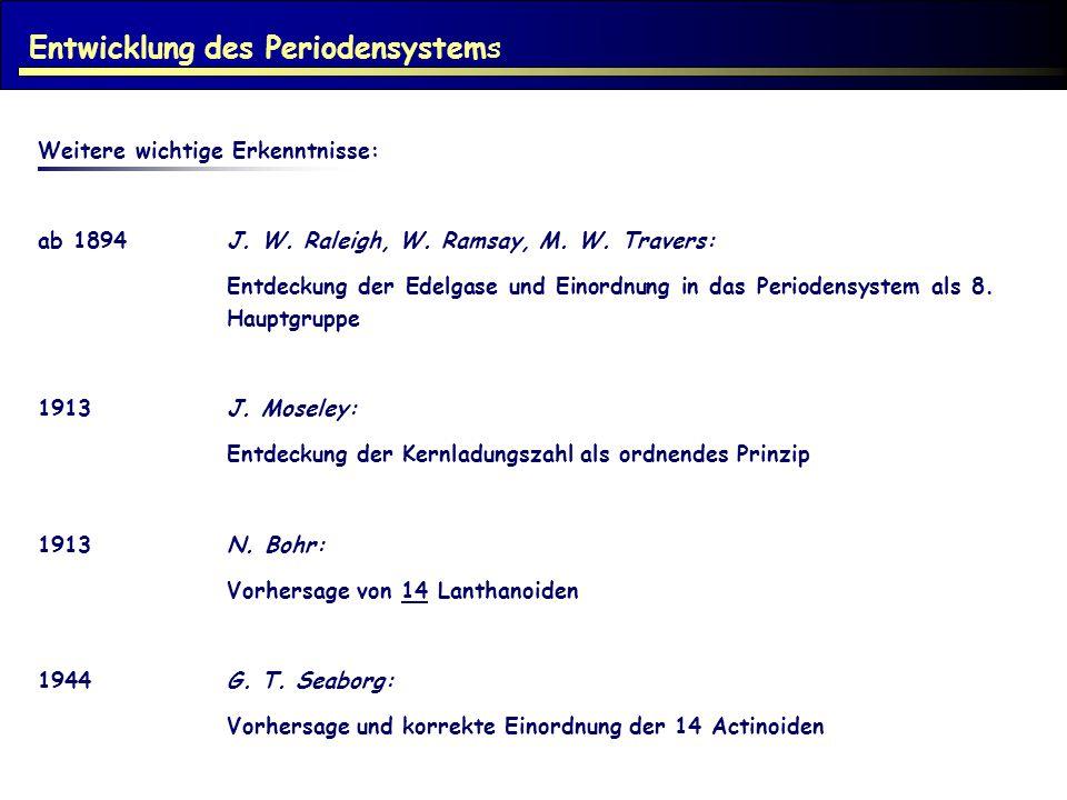 Weitere wichtige Erkenntnisse: ab 1894J. W. Raleigh, W. Ramsay, M. W. Travers: Entdeckung der Edelgase und Einordnung in das Periodensystem als 8. Hau