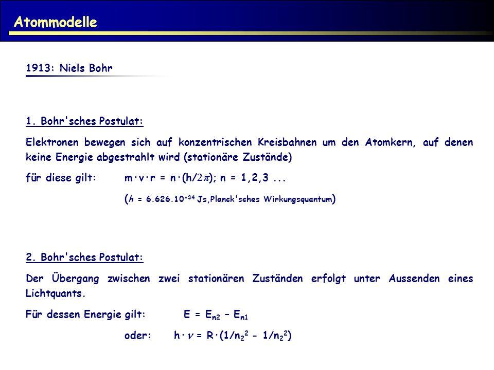 1913: Niels Bohr 1. Bohr'sches Postulat: Elektronen bewegen sich auf konzentrischen Kreisbahnen um den Atomkern, auf denen keine Energie abgestrahlt w
