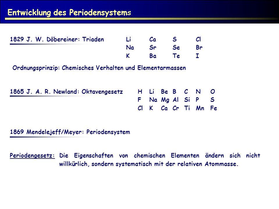 Entwicklung des Periodensystems 1829 J. W. Döbereiner: TriadenLiCaSCl NaSrSeBr KBaTeI Ordnungsprinzip: Chemisches Verhalten und Elementarmassen 1865 J