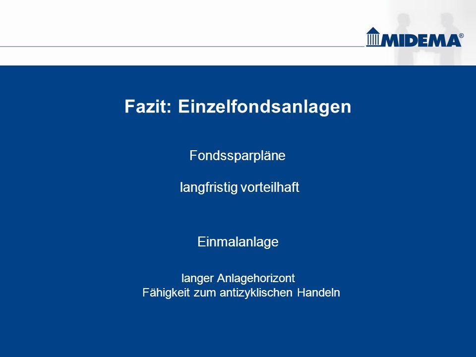 Fazit: Einzelfondsanlagen Fondssparpläne langfristig vorteilhaft Einmalanlage langer Anlagehorizont Fähigkeit zum antizyklischen Handeln