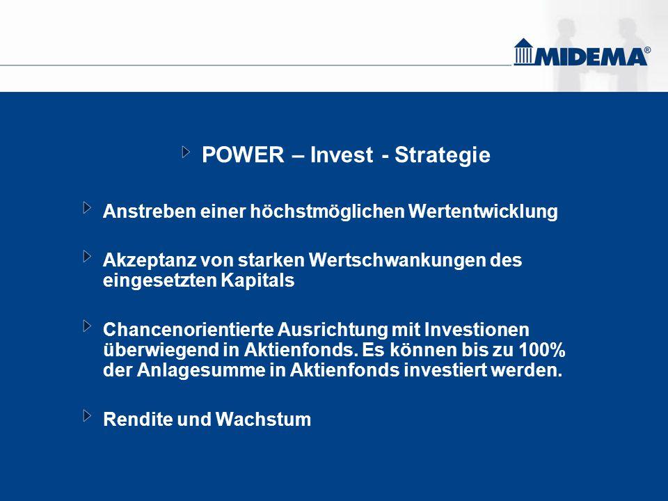 POWER – Invest - Strategie Anstreben einer höchstmöglichen Wertentwicklung Akzeptanz von starken Wertschwankungen des eingesetzten Kapitals Chancenori
