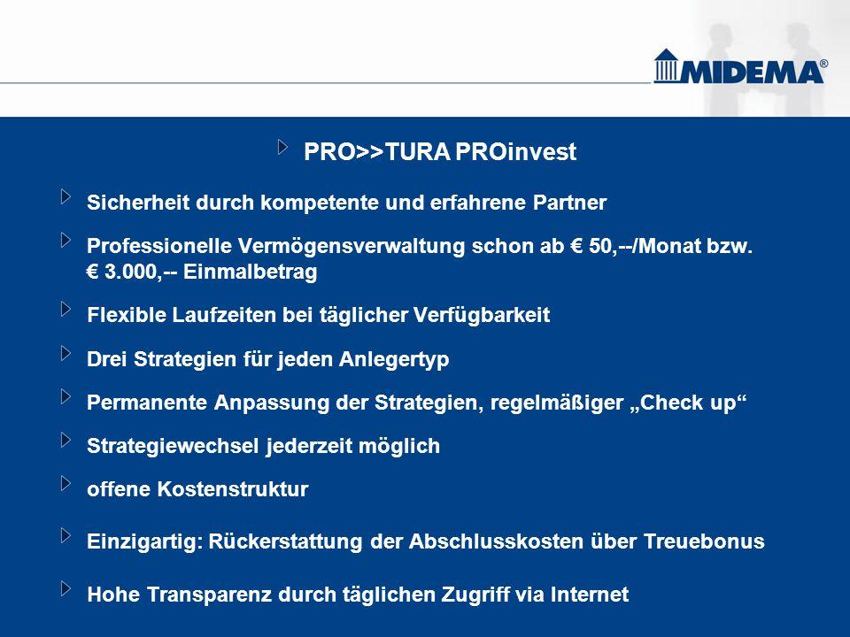 PRO>>TURA PROinvest Sicherheit durch kompetente und erfahrene Partner Professionelle Vermögensverwaltung schon ab € 50,--/Monat bzw. € 3.000,-- Einmal