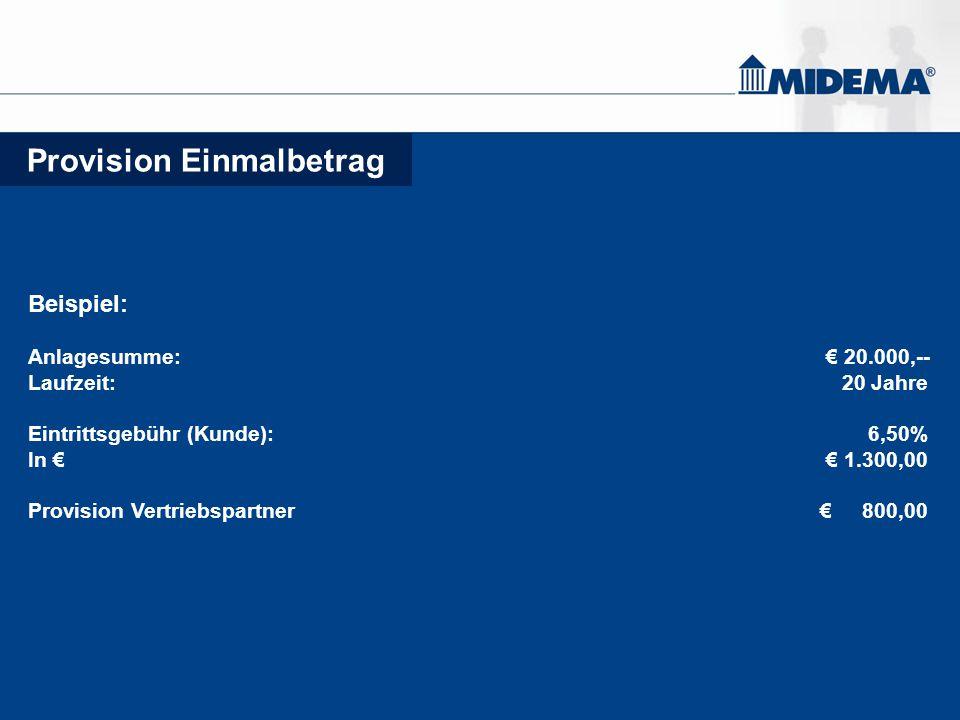 Provision Einmalbetrag Beispiel: Anlagesumme: € 20.000,-- Laufzeit: 20 Jahre Eintrittsgebühr (Kunde): 6,50% In € € 1.300,00 Provision Vertriebspartner