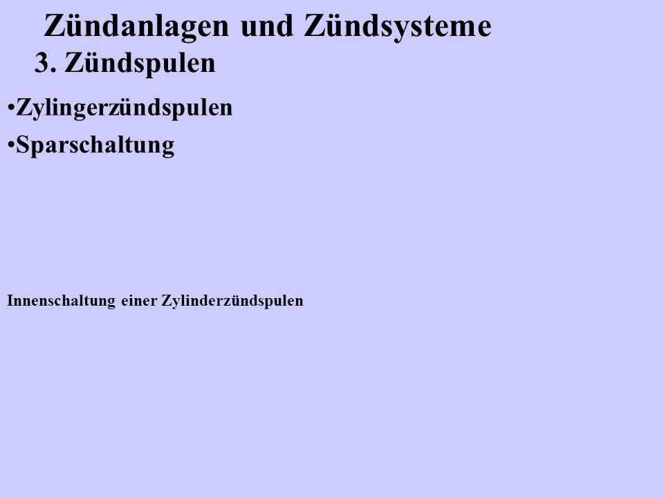 Zündanlagen und Zündsysteme 3. Zündspulen Zylingerzündspulen Sparschaltung Innenschaltung einer Zylinderzündspulen