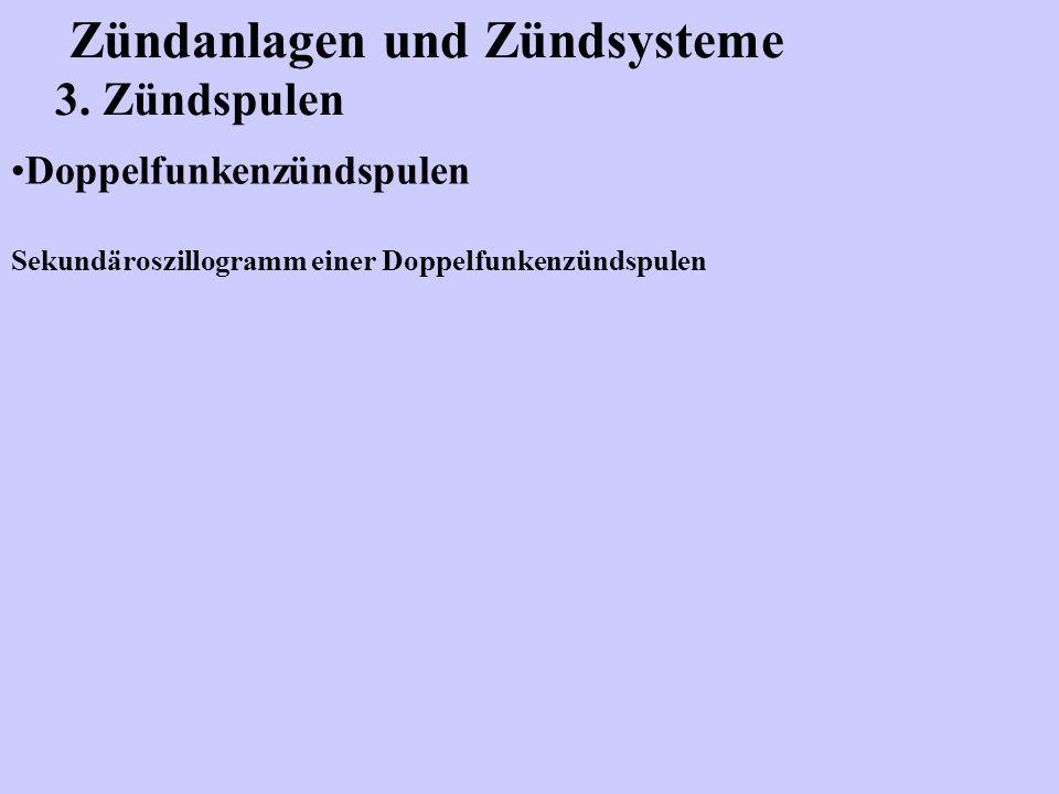 Zündanlagen und Zündsysteme 3. Zündspulen Doppelfunkenzündspulen Sekundäroszillogramm einer Doppelfunkenzündspulen