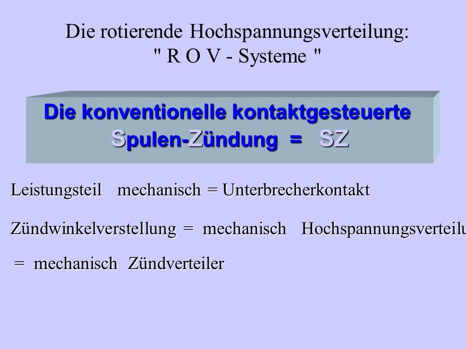 Die konventionelle kontaktgesteuerte S pulen- Z ündung = SZ Leistungsteil mechanisch = Unterbrecherkontakt Zündwinkelverstellung= mechanisch Hochspann