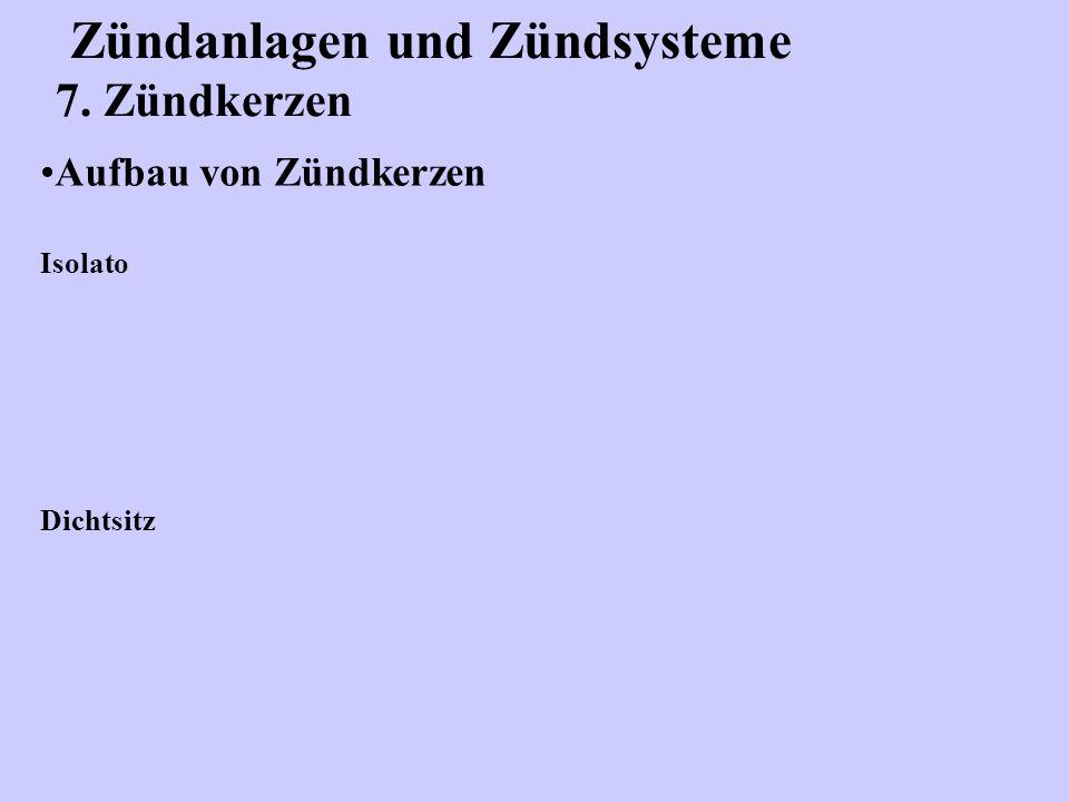 Zündanlagen und Zündsysteme 7. Zündkerzen Aufbau von Zündkerzen Isolato Dichtsitz