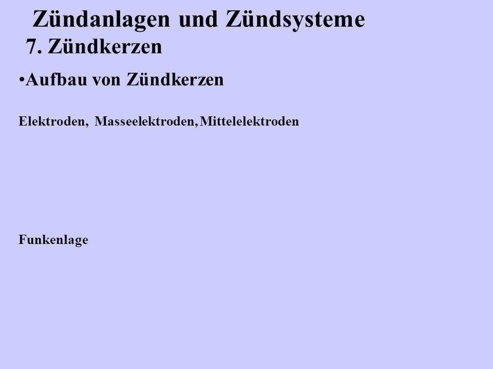 Zündanlagen und Zündsysteme 7. Zündkerzen Aufbau von Zündkerzen Elektroden, Masseelektroden, Mittelelektroden Funkenlage