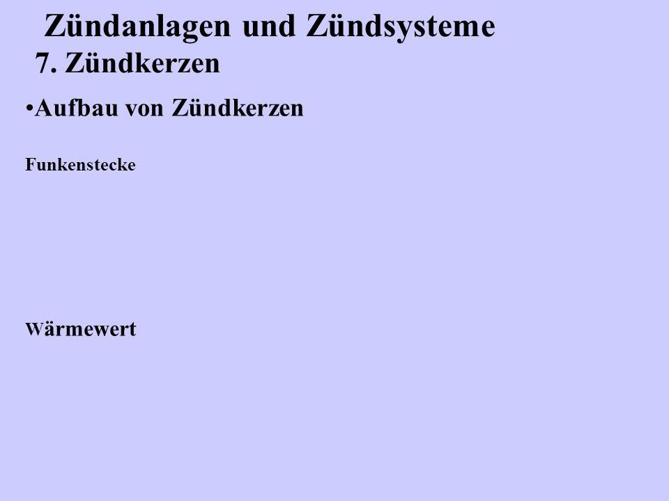 Zündanlagen und Zündsysteme 7. Zündkerzen Aufbau von Zündkerzen Funkenstecke W ärmewert