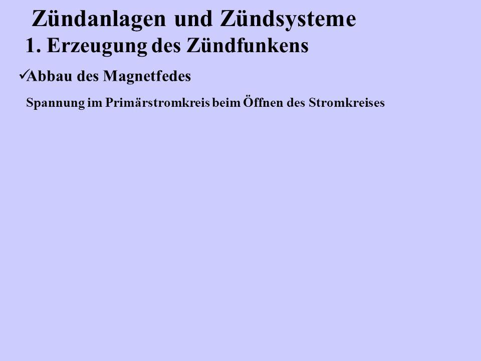 Zündanlagen und Zündsysteme 1. Erzeugung des Zündfunkens Abbau des Magnetfedes Spannung im Primärstromkreis beim Öffnen des Stromkreises