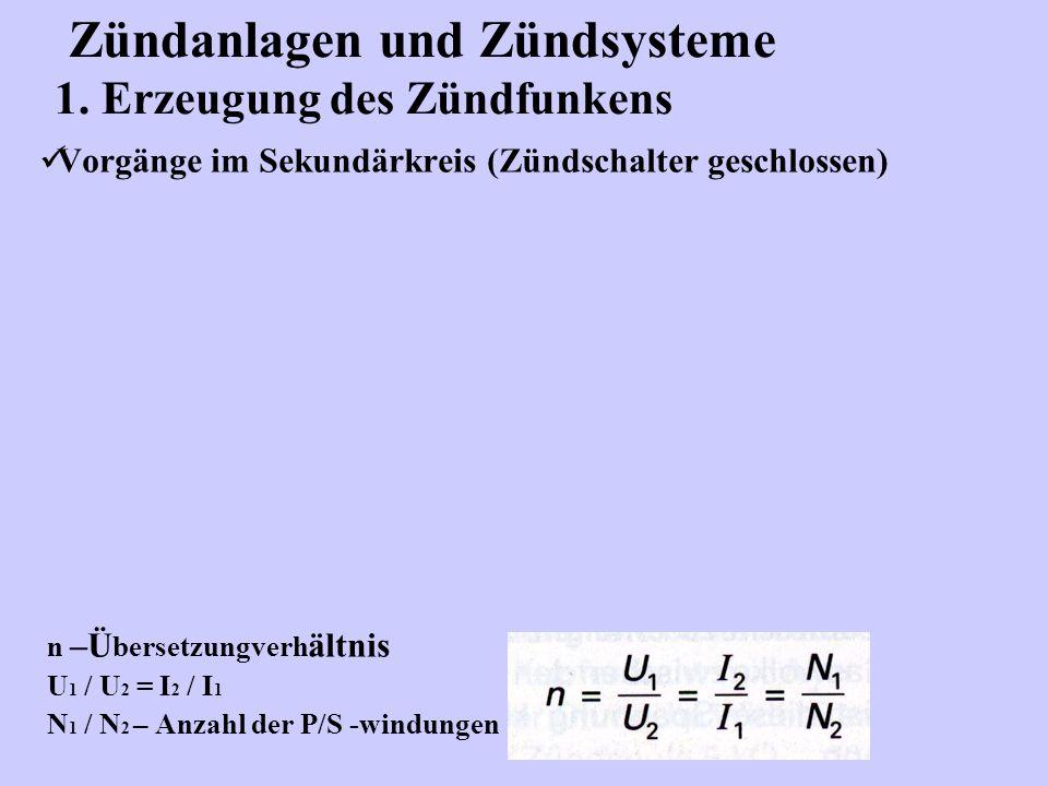 Zündanlagen und Zündsysteme 1. Erzeugung des Zündfunkens Vorgänge im Sekundärkreis (Zündschalter geschlossen) n –Ü bersetzungverh ältnis U 1 / U 2 = I